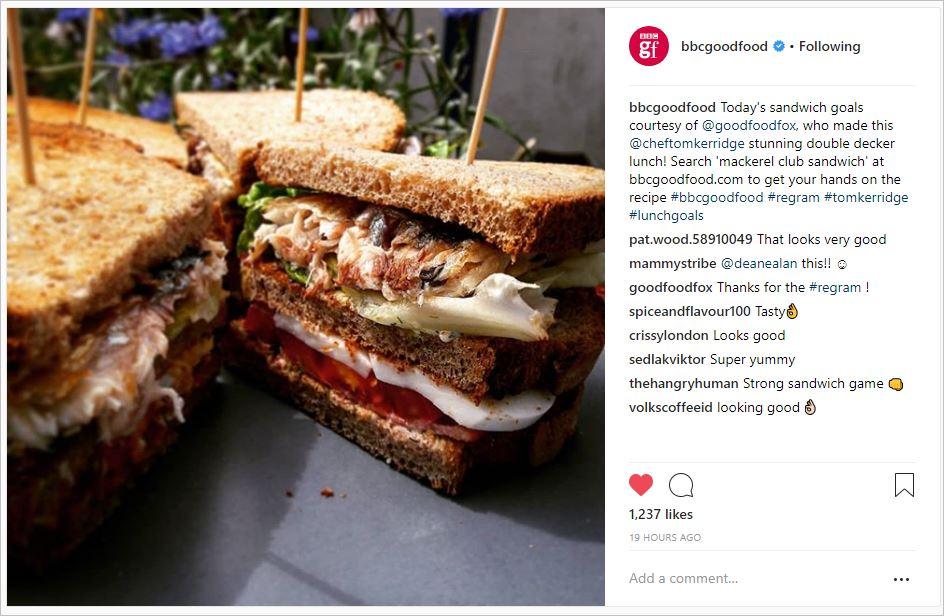 Repost van mijn foto van de makreel sandwich uit BBC Good Food Magazine.